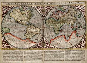 Planisphere made by Rumold Mercator, 1587