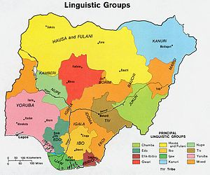Map of Nigeria's linguistic groups. Achebe's h...