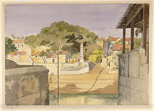 English: View of the ghat at Banganga Tank and...
