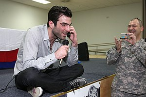English: Zachary Quinto greets a soldier's dau...