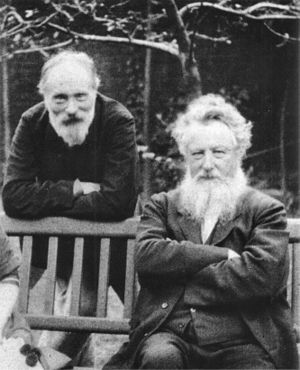 English: Edward Burne-Jones (left) and William...