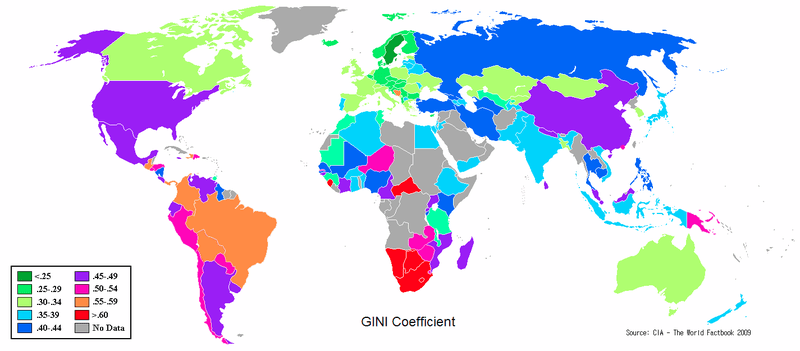 Gini coefficient for income