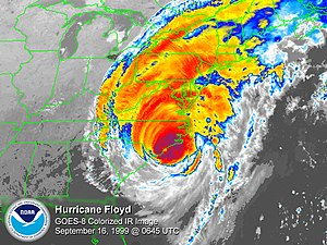 English: GOES 8 satellite colored infrared ima...