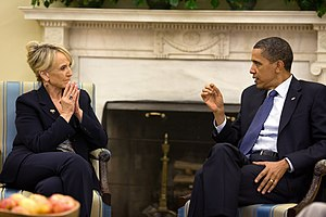 English: Arizona Governor Jan Brewer meeting w...