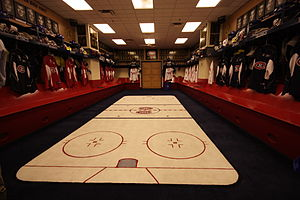 English: Montreal Canadiens locker room in the...