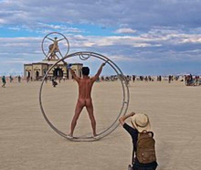 Naked Participant At Burning Man 2016 Posing As Leonardo Da Vincis Vitruvian Man