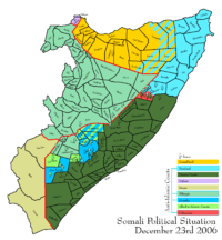 Map depicting the political situation in Somalia on December 23, 2006