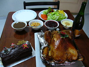Roast turkey served with salad, sauces and spa...