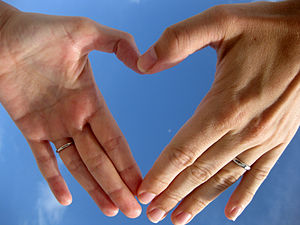 Two left hands forming an outline of a heart s...