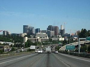 Interstate 405 approaching downtown Bellevue, ...