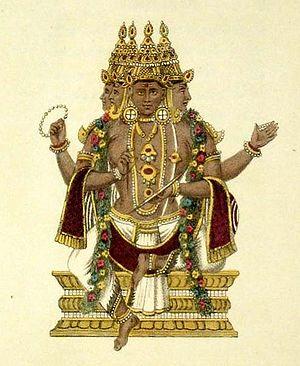 A handcoloured engraving of Brahma.