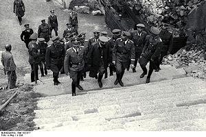 "Himmler and his entourage ascend the ""ste..."