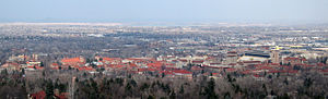 Looking down on the campus of the University o...