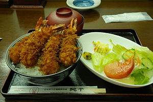 The Ebi-don is the meal which put the fried sh...