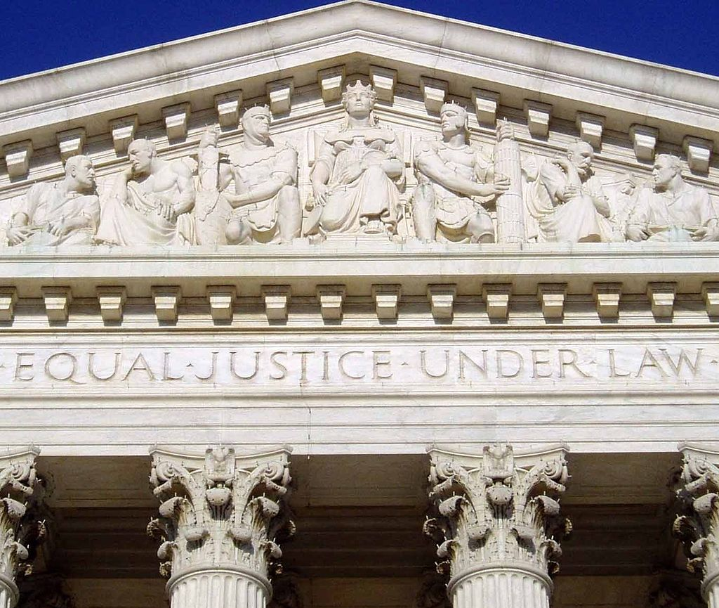 Over the front door of the U.S. Supreme Court: