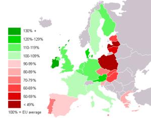 Map of GDP per capita (PPP) of EU member state...