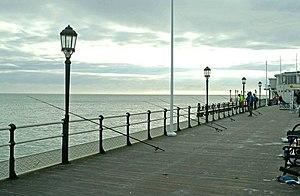 English: Fishing rods on Worthing Pier This pa...