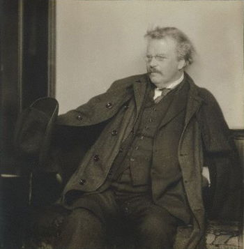 English: G. K. Chesterton, 1920s. Silver gelat...