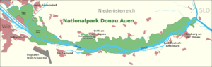 English: map of the national park Donau-Auen, ...