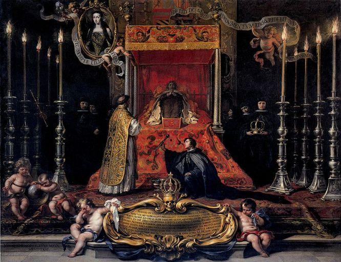 Marie Louise of Orléans, Queen of Spain, lying in state (1689), by Sebastián Muñoz.JPG