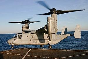 A U.S. Marine Corps MV-22 prepares to land aboard USS Nassau in 2008.
