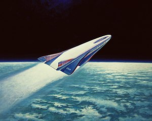 Artists concept of the X-30 aerospace plane fl...