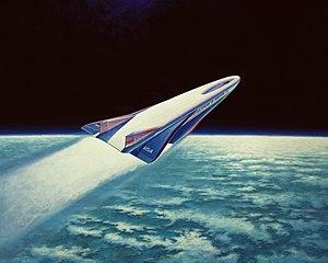 Artists concept of the X-30 aerospace plane fl...