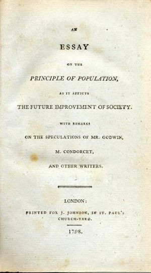 economist who wrote an essay on the principle of population 1798 crossword