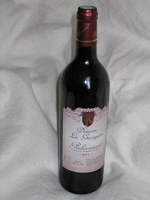 A bottle of Pécharmant wine