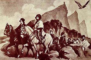 Giuseppe and Anita Garibaldi fleeing to San Ma...