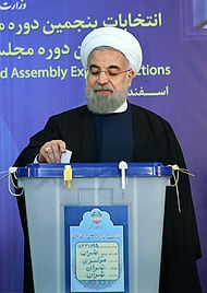 Rouhani casting his vote in the 2016 elections.