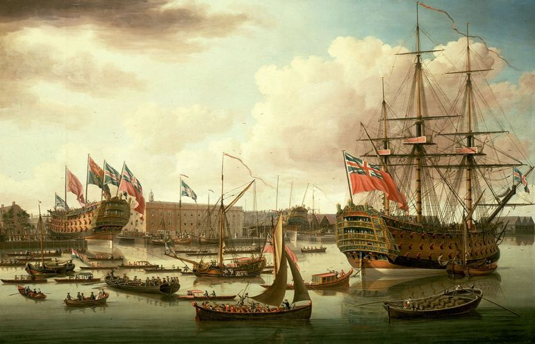 HMS Royal George, right, shown fictitiously at the launch of HMS Cambridge in 1755 by John Cleveley the Elder (1757)