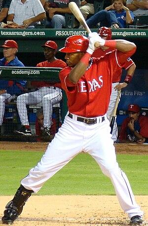 English: Julio Borbon, Texas Rangers outfielder.