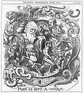 "Darwin's figure is shown seated, dressed in a toga, in a circular frame labelled ""TIME'S METER"" around which a succession of figures spiral, starting with an earthworm emerging from the broken letters ""CHAOS"" then worms with head and limbs, followed by monkeys, apes, primitive men, a loin cloth clad hunter with a club, and a gentleman who tips his top hat to Darwin."