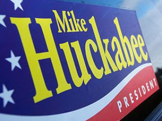 A Huckabee supporter's bumper sticker.