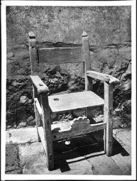 Old chair at Mission San Buenaventura, California, ca.1906 (CHS-4385)