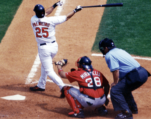 Rafael Palmeiro in mid swing, Spring Training ...