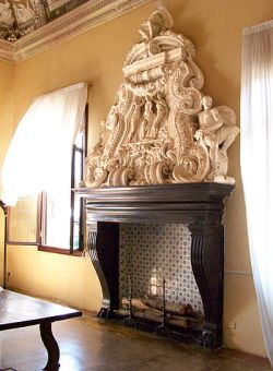 Marble and wood fireplace
