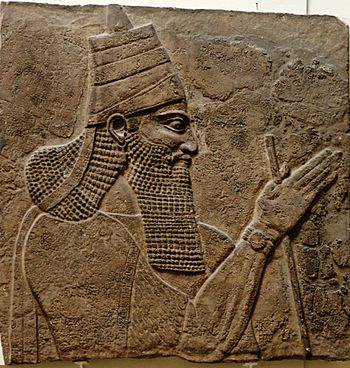 Tiglath-Pileser III. Stone panel, Assyrian art...