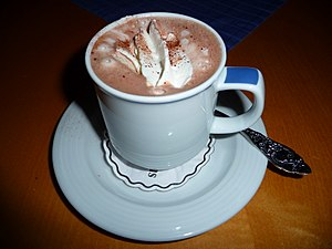 cup of hot chocolate with whipped cream and co...