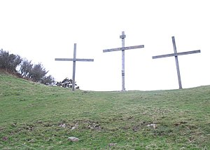 Crosses above Lee Abbey The crosses (represent...