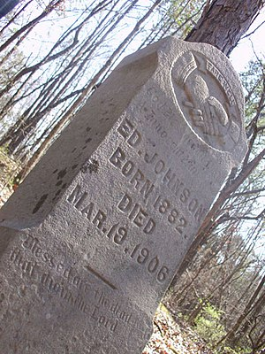 English: The grave marker of Ed Johnson, who w...
