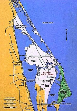 English: Merritt Island, , with and . Deutsch:...