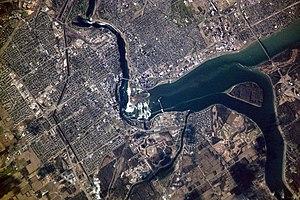 Aerial view of Niagara Falls, showing parts of...