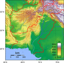 Topographical map of Pakistan