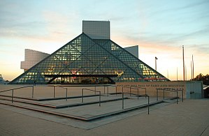 Rock and Roll Hall of Fame at sunset; Clevelan...