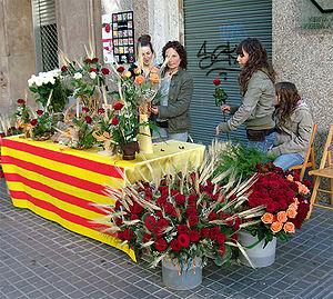 Nederlands: rozenverkopers Barcelona, Sant Jordi