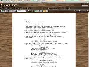 Screenwriting Pro Default Interface