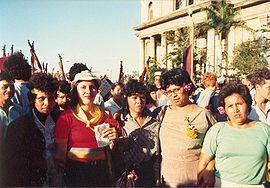 Acto de celebración del D�a Internacional de la Mujer Trabajadora en Managua (1988).