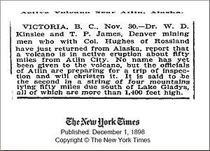 News report of an eruption in northwestern Bri...